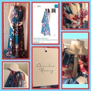 Charles Henry Maxi Dress Blue Floral L